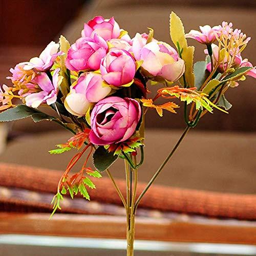 Interior Composición de Flores Artificiales Ramo Cabeza de Rose y 6 de la Margarita Cabeza Falso Flores for el hogar decoración de la Boda del otoño Cubierta Artificial