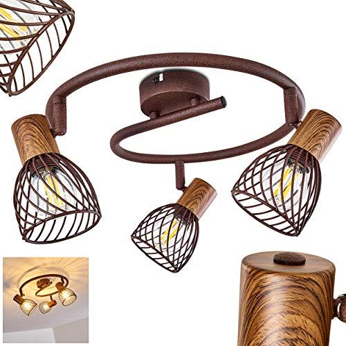 Deckenleuchte Arjen, Deckenlampe aus Metall/Holz in Rost/Braun, 3-flammig, mit verstellbaren Strahlern, 3 x E14 -Fassung max. 40 Watt, Spot im Retro/Vintage Design, für LED Leuchtmittel geeignet
