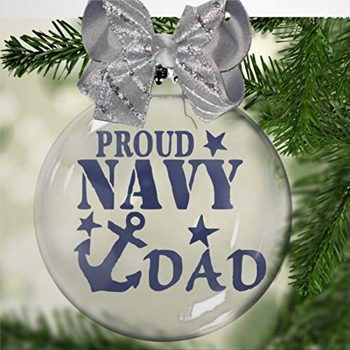 DONL9BAUER Christmas Ball Ornament Proud Navy Dad Patriot, Hero. Armed Services, Anchor Floating Ornament Baubles Fillable Ball Holiday Hanging Decor for Xmas Tree Wedding Party