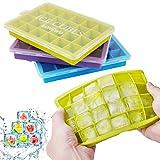 LONCWO Eiswürfelform, 3er Pack Silikon-Eiswürfelschale mit Deckel, Einfach zum Herausnehmen...