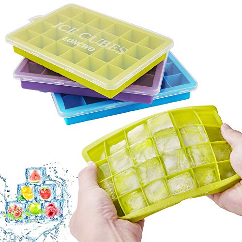 LONCWO Eiswürfelform, 3er Pack Silikon-Eiswürfelschale mit Deckel, Einfach zum Herausnehmen Eiswuerfelbehaelter, LFGB Zertifiziert Eiswürfelbehälter, 24-Fach
