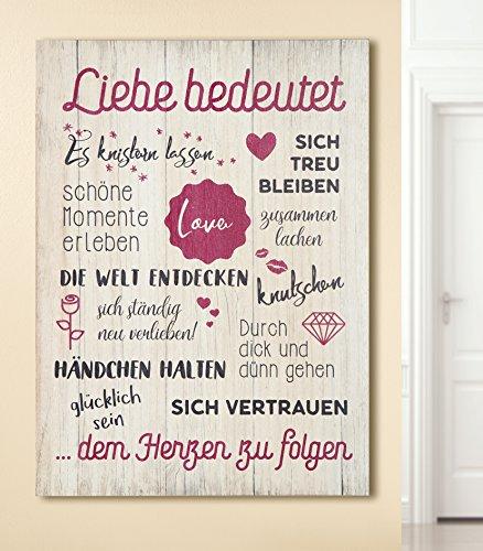 GILDE Bild Weisheit Liebe bedeutet Creme pink/schwarz Höhe 50 cm, Wandobjekt