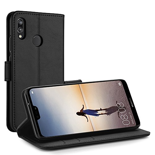 Simpeak Hülle Kompatibel mit Huawei P20 Lite, Handyhülle Kompatibel für P20 Lite Leder Flipcase [Kartensteckplätze] [Stand Feature] [Magnetic Closure Snap] - Schwarz - 2