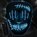 ILEBYGO Halloween Light Up Mask LED Purge Mask Scary Mask with EL Wire 3 Flashing-Modes for Halloween Festival, Party, Cos Play (Blue)