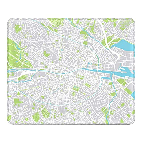 Mousepad City Map of Dublin Ireland Mouse Pad with Stitched Edge Non-Slip Rubber Base Mouse Mat 25X30CM