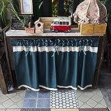 YXW Cortina Corta de Estilo Rural, Cenefa de Cortina para Ventana/cafetería/Debajo del Fregadero/baño/Estante para Libros, Media Cortina de Cofe, Verde Oscuro (Altura 40/60/80 cm)