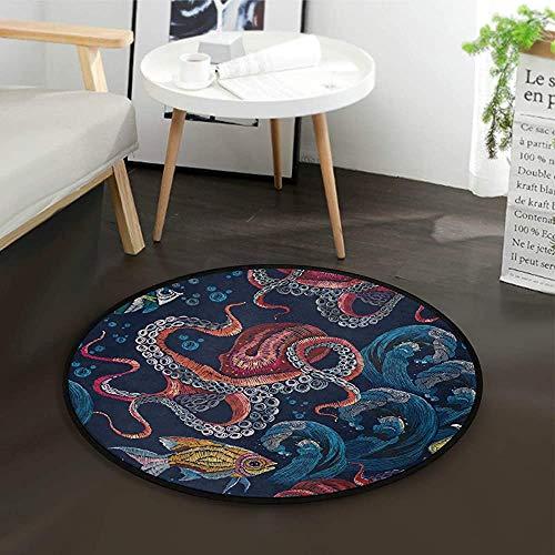 W-WEE Octopus Sea Wave Tropical Fish Runder Teppich für Wohnzimmer Schlafzimmer
