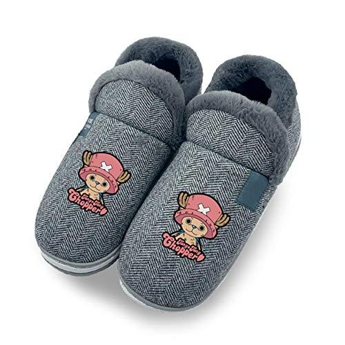 EDMKO One Piece Damen Herren Winter Wärme Hausschuhe Tony Tony Chopper Memory Foam Plüsch Pantoffeln Drinnen Und Draußen rutschfest Slipper,UK 8~9/EU 44~45(275)