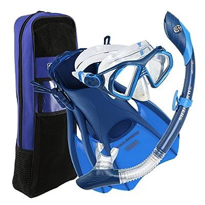 U.S. Divers Admiral Snorkeling Set - Premium Silicone Snorkel Mask, Trek Travel Fins, Dry Top Snorkel + Snorkeling Gear Bag, Blue, Large
