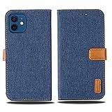 【 Viesa 】 新型モデル デニム デザイン ケース 手帳型 iPhone 12 Mini 5.4 inch (5.4インチ ) 手帳ケース (ダークブルー) 全面保護 ベストデニム材料 カード収納ポケット 横置きスタンド機能 スマホケース アップル アイフォン12ミニ iPhone12 mini BLUE