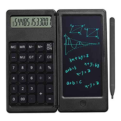 CALLATORE Calcolatrice da tavolo e 6 pollici LCD. Scrittura del tablet Digital Drawing Pad 12 cifre Display con la funzione di blocco del pulsante di cancellazione della penna dello stilo Calcolatri