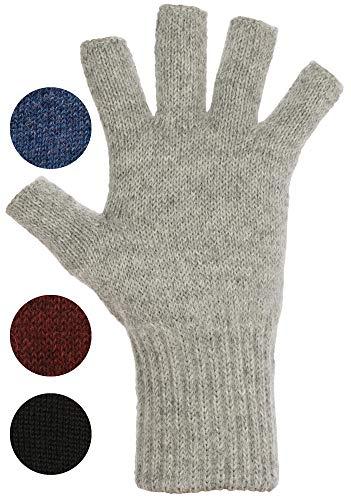 DARN WARM Alpaca FINGERLESS Gloves - BEST NATURAL SOLUTION for COLD HANDS - for WOMEN AND MEN (Medium, Ash Light Grey)