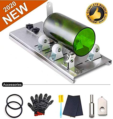 Glass Bottle Cutter Tool, Stainless Steel DIY Machine for Cutting Round Bottles and Mason Jars, Accessories Tool Kit Gloves Fixing Rubber Ring Hemp Rope Sanding Paper
