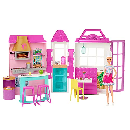Barbie Cook 'n Grill Restaurant Playset with Barbie Doll, 30+ Pieces & 6 Play Areas Including Kitchen, Pizza Oven, Grill & Dining Booth, Gift for 3 to 7 Year Olds
