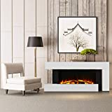 DKIEI Electric Fireplace Wall Mounted Fire with Remote Control Adjustable Thermostat and LED Flame Effect, 7 Day 24hr Timer 220/240V 1000/2000W, with Log/Pebble Fuel Bed