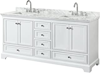 Wyndham Collection Deborah 72 inch Double Bathroom Vanity in White, White Carrara Marble Countertop, Undermount Square Sinks, and No Mirror