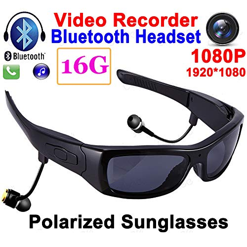MLSJM 1080P HD Bluetooth Smart Kamera Brille, Multifunktions-Sport Polarisierte Sonnenbrille Bluetooth-Kopfhörer Mit Mikrofon TR90 Rahmen OTG Video Recorder, 16G,Transparent Lens