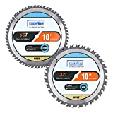 Luckyway 2-Pack 10 Inch Miter / Table Saw Blades 32T&60T with 5/8 Inch Arbor TCT Circular Saw Blade for Cutting Wood