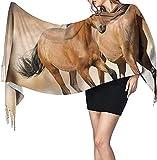 Bufanda de cachemir con estampado de caballo para correr, bufanda cálida informal para mujer, chal grande