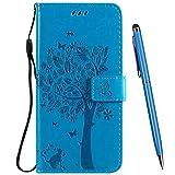 TOUCASA Hülle Kompatibel mit Motorola Moto E6 Plus, Handyhülle Brieftasche PU Leder Flip [Ständer Kartenfach] [Prägung] Hülle Handytasche Klapphülle Kratzfestes Schutz Lederhülle (Blau)