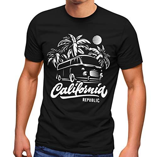 Neverless Herren T-Shirt California Surf Retro Bus Abenteuer Urlaub Palmen Slim Fit schwarz 3XL