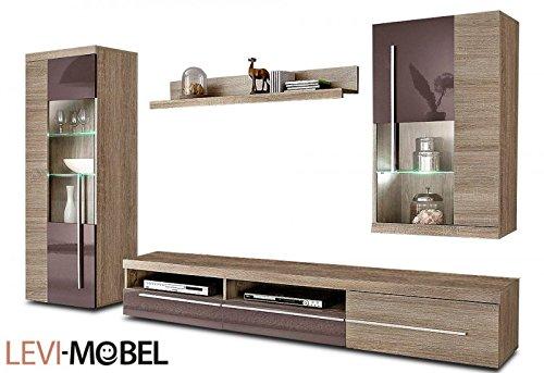 Moebelaktionsshop24 WOHNWAND 4-TLG Wohnzimmer Eiche SÄGERAU BRAUN Hochglanz NEU 390576