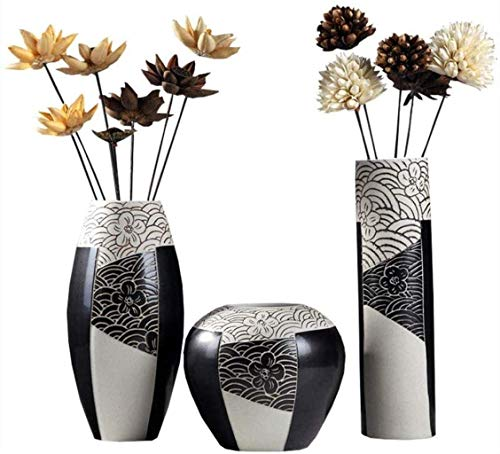 FTFTO Living Equipment Jarrones Florero de cerámica Artesanía Hecha a Mano Sala de Estar Decoración del hogar Adornos (un Juego de 3 con Flores secas) Tarro
