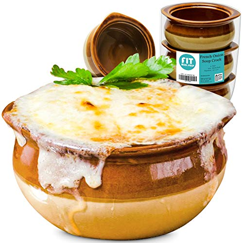 [6 Pack] 10 Oz French Onion Soup Crock - Brown and Ivory Premium Ceramic Porcelain Bowls, Microwave Oven Safe, For Soup, Stews, Chilis, Baked Beans, Mac and Cheese