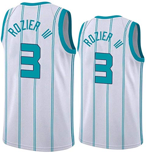 Basketball NBA Jerseys - NBA # 3 Terry Rozier Jerseys de Hombre Charlotte Hornets - Fan de Malla Bordada Unisex Cómodo Camisetas sin Mangas,B,M(170~175CM/65~75KG)