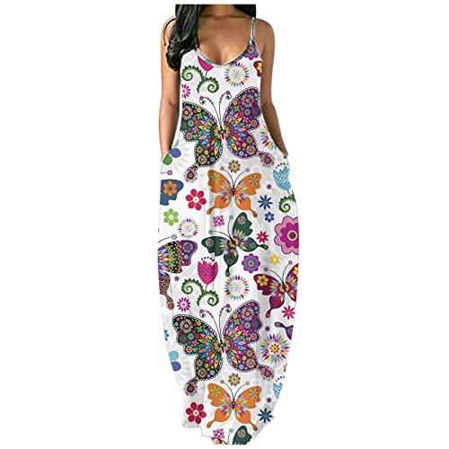 riou Vestido Mujer Bohemio Largo Verano Playa Fiesta Casual Vestido de Cóctel de Noche, Playa Fiesta Floral/Polka Dot Maxi ,Vestido Sexy a Cadera