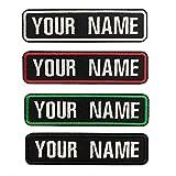 Brillianne Benutzerdefinierter gestickter Namensaufnäher, 2-teiliges personalisiertes Nummernschild, 10 x 2,5 cm großes Namensschild für Motorradwestenjacke