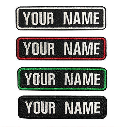 Custom Embroidery Name Patches,2 Pieces Personalized Military Number Tag Embroidery Text for Multiple Clothing Bags Vest Jackets Work Shirts (Black)
