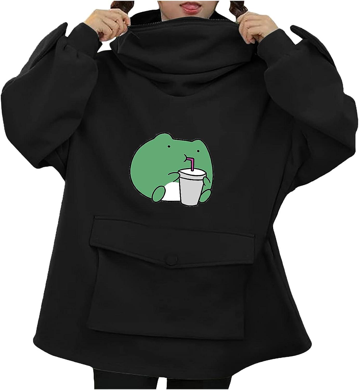 wlczzyn Hoodies for Women, Women's Long Sleeve Drinking Frog Print Hooded Sweatshirts 3D Design Cute Pullover Tops