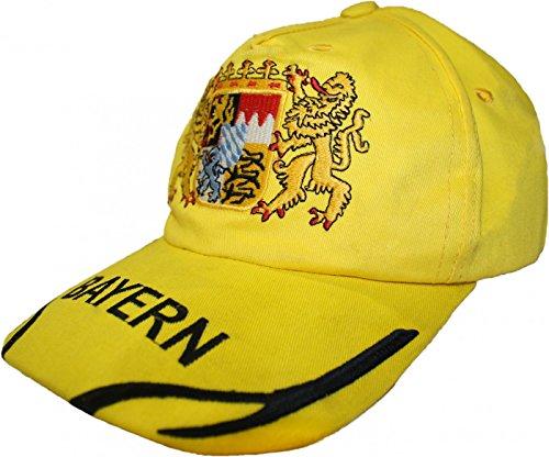German Wear German Wear Trachten Basecap Cappe Hut Bayernmuster mit gesticktem Bayerischen Wappen, Farbe:Gelb