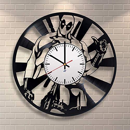 Deadpool Handmade Clock, Ryan Reynolds Film Hero, Vinyl Record Clock, Best Gift for Fans, Kovides Vinyl Wall Clock, Home Decor, Comics Marvel DC Movie, Silent Mechanism, Wall Art Decor