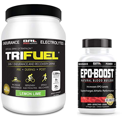 EPO-BOOST Natural Blood Builder & Tri Fuel Lemon Lime Sports Supplement Bundle. RBC Booster & BCAA Electrolyte Drink. Echinacea & Dandelion Root for Increased VO2 Max, Energy, Endurance.