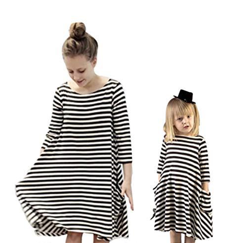 Loalirando Vestido Familiar Verano Vestidos Sueltos para Madre e Hija de Rayas con Manga de 3/4 y Bolsillos