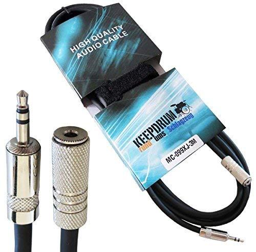 Keepdrum MC-099XJ 3m verlengkabel 3,5 mm stereo mini-jack M/F hoofdtelefoon verlenging + klittenband kabelbinder
