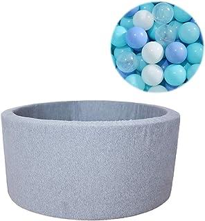 KELEQI Soft Ball Pit Pool 90X30cm/200 Balls Round for Baby Toddler Foam, Light Grey:White-Grey-Light Blue