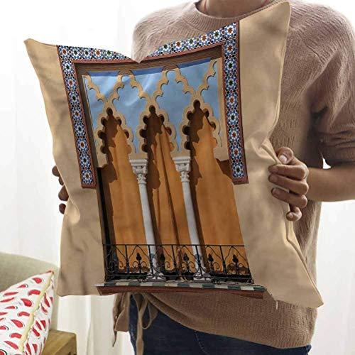 N\A Funda de Almohada de Oficina Ventanas Antiguas Córdoba España Cojín Decorativo con Cremallera