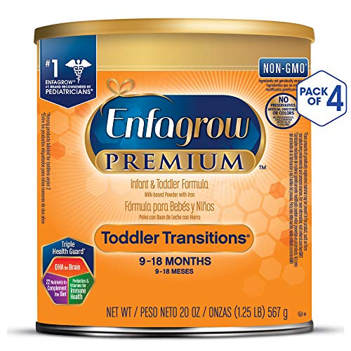 Enfagrow PREMIUM Toddler Transitions Baby Formula Milk Powder, 20 Ounce (Pack of 4), Omega 3 DHA,...