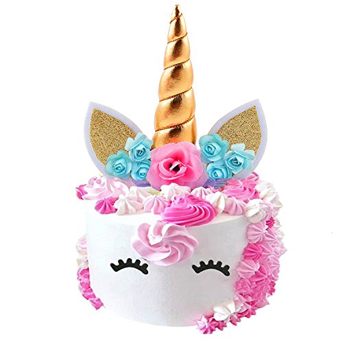 Fanisi Unicorn Cake Topper Birthday Party Supplies, Handmade Unicorn Horn Ears and Flowers Set