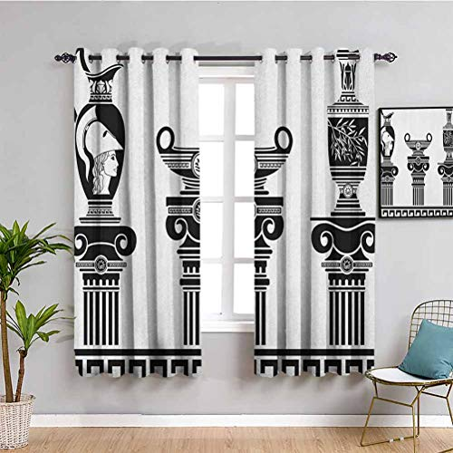 SONGDAYONE Toga Party-Küchenvorhang, Vorhänge 160 cm Länge, Set mit hellenischen Vasen und ionischen Säulen, künstlerisches Design, Amphore, Antikraum, verdunkelt, schwarz und weiß, B 160 x L 160 cm