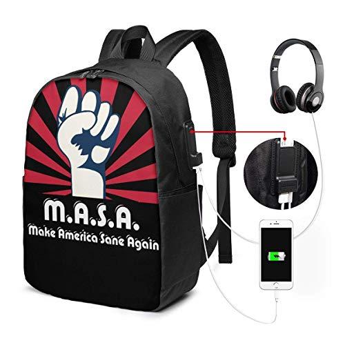 Llynice Unisex Rucksack mit USB-Ladeanschluss MASA Make America Sane Again Classic Fashion General Business Bookbag