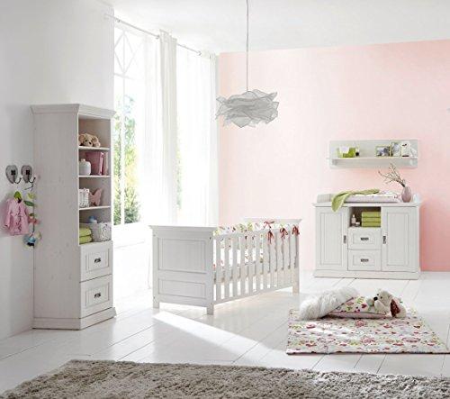 Babyzimmer 5tlg.Babybett Wickelkommode Wandregal Standregal Kiefer massiv weiß