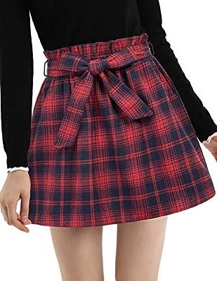 Vintage Red Plaid Flared Uniform Girl Skater Skirt with Belt Red Large