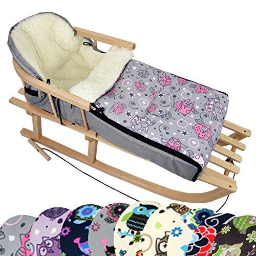 BambiniWelt Kombi-Angebot Holz-Schlitten mit Rückenlehne & Zugseil + universaler Winterfußsack (108cm), auch geeignet für Babyschale, Kinderwagen, Buggy, aus Wolle im Eulendesign (Eule $2)