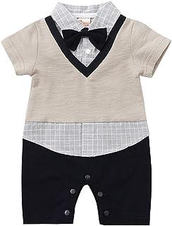 ALLAIBB Toddler Baby Boys Gentleman Plaid Bow Tie Romper Summer Shirt Jumpsuit (Color : Khaki, Size : 60)