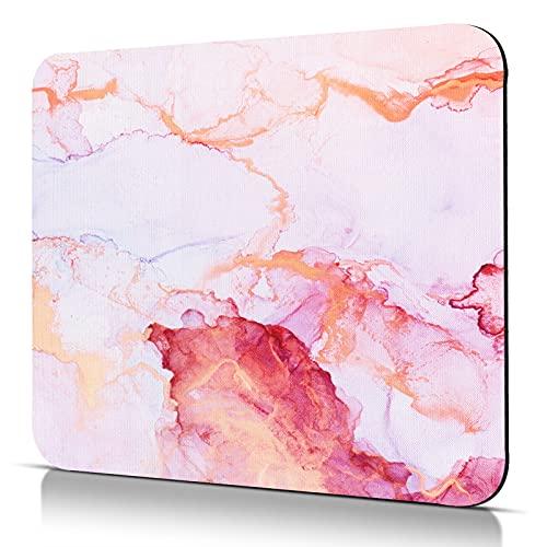 CHUQING Tapis de souris, petite taille, antidérapant, pour la maison et le bureau, au motif de marbre, or, rose, violet, 24 x 20cm