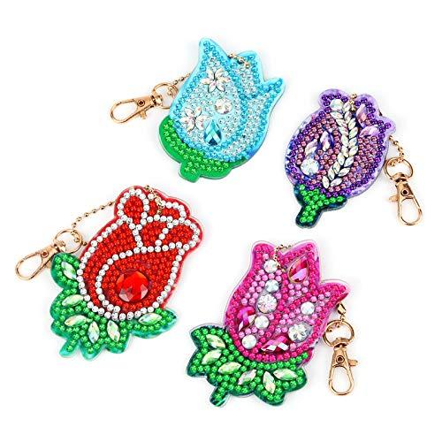 VETPW 4 Stück 5D DIY Diamant Malerei Schlüsselbund mit Rose Blumen Design, Doppelseitig DIY Full Drill Diamond Painting Keychain für Damen Geldbörse Rucksack Handtasche Dekoration